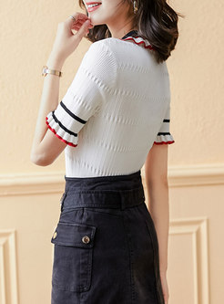 Color-blocked Pullover Slim Polo Knit Top