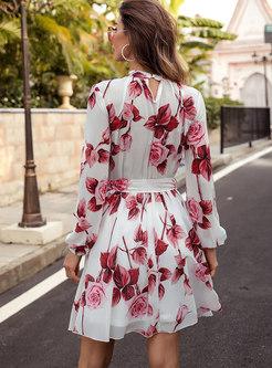 Long Sleeve Print Chiffon A Line Mini Dress