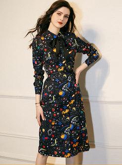 Lapel Long Sleeve Print A Line Dress
