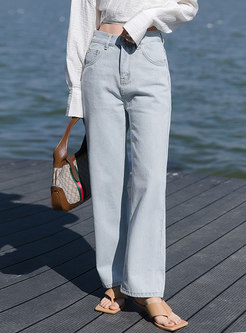 Brief Solid High Waisted Straight Jeans