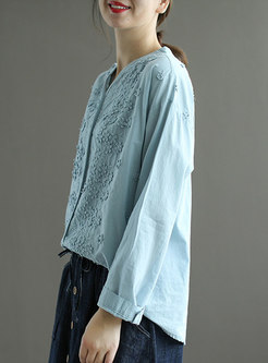 Solid V-neck Embroidered Pullover Blouse
