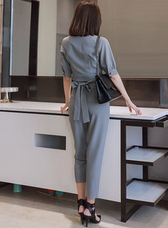 V-neck Wrap Crop Top & Plaid Straight Pants