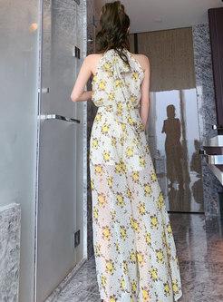 Halter Print Chiffon Transparent Palazzo Pant Suits