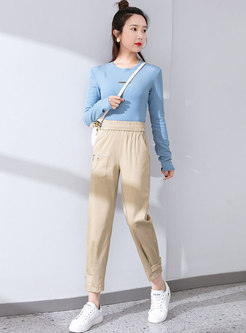 Casual High Waisted Ankle-tied Harem Pants