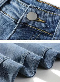 Blue High Waisted Straight Split Jeans