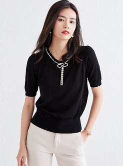 Crew Neck Beaded Pullover Loose Knit Top