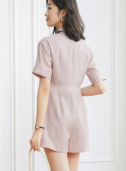 Short Sleeve High Waisted Button-down Rompers