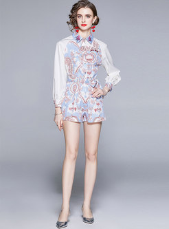 Lapel Print Shirt & High Waisted Hot Pants