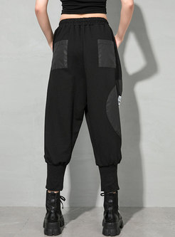 Black Letter Print Patchwork Plus Size Pants