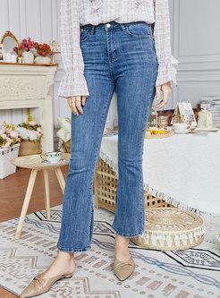 High Waisted Split Flare Jeans