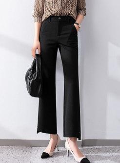 Black Casual High Waisted Flare Dress Pants