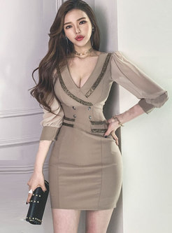 3/4 Sleeve Chiffon Patchwork Bodycon Dress