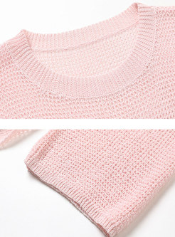 Crew Neck Openwork Pullover Knit Top With Cami
