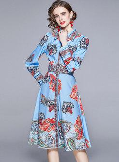 Long Sleeve Print Belted A Line Midi Dress