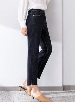 High Waisted Straight Fringe Selvedge Jeans