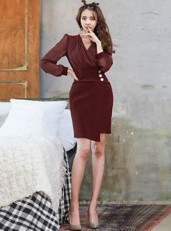 Chiffon Lantern Sleeve Asymmetric Bodycon Mini Dress