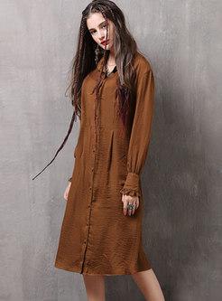 Camel Turn-down Collar Lettuce Edge Ruched Shirt Dress