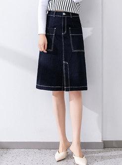 High Waisted Split A Line Denim Skirt