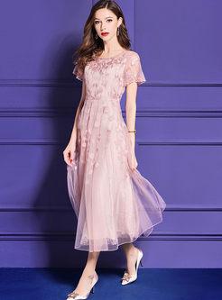 Pink Embroidered Big Hem Bridesmaid Dress
