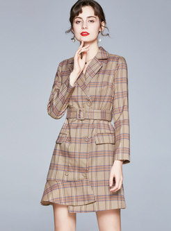 Plaid Asymmetric A Line Mini Blazer Dress