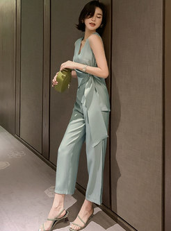 Sleeveless Diamond Asymmetric Wrap Top & Straight Pants