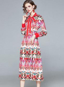 Retro Bowknot Ribbon Empire Waist Floral Maxi Dress