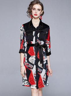 Turn-down Collar Denim Patchwork Print Shirt Dress