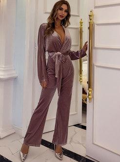V-neck High Waisted Velvet Wrap Straight Jumpsuis