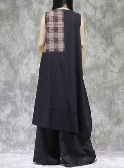 Plus Size Crew Neck Plaid Patchwork Shift Dress