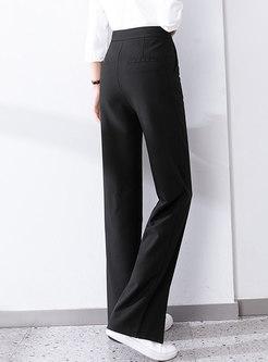 Black Casual High Waisted Split Straight Pants