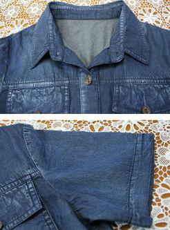 Plus Size Embroidered Patchwork Denim Mini Dress