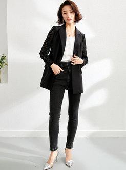 Black Lace Openwork Flap Pockets Blazer