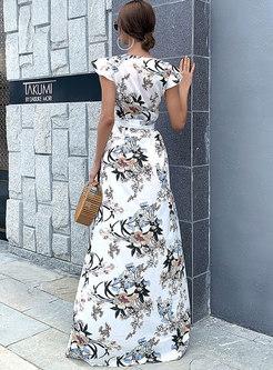 Boho Deep V-neck Print Chiffon Maxi Dress