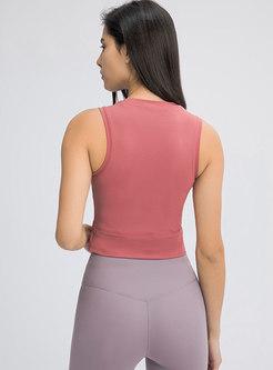 Crew Neck Sleeveless Breathable Yoga Crop Top
