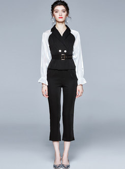 Color-block Patchwork Belted Slim Pant Suits