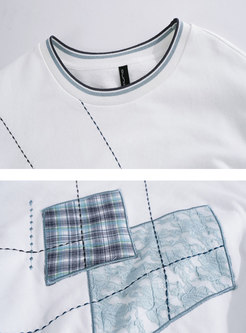 Casual Crew Neck Pullover Plaid T-shirt