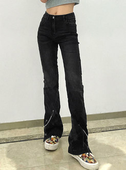 Black High Rise Flare Jeans With Chain
