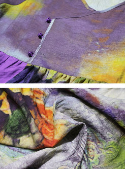 Plus Size Linen Color-block Print Maxi Dress