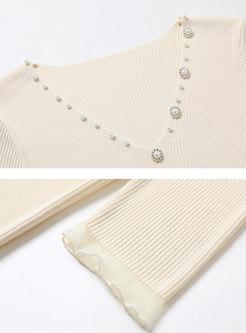 V-neck Half Sleeve Pullover Slim Knit Top