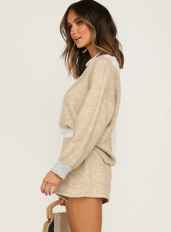 Color Blocked Pullover Sweater & High Waisted Shorts