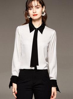 Ribbon Long Sleeve Patchwork Silk Blouse