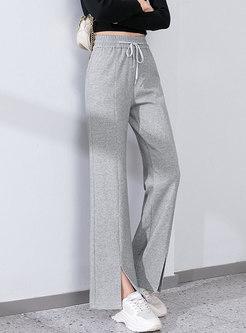 Casual Elasticated Waist Split Straight Pants
