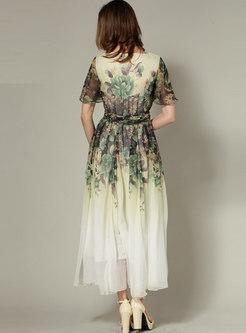 Boho Print Empire Waist Big Hem Maxi Dress