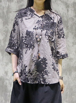 Pullover Half Sleeve Print Tunic