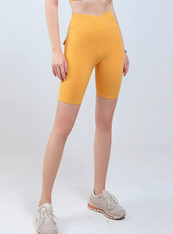 High Waisted Solid Breathable Yoga Shorts