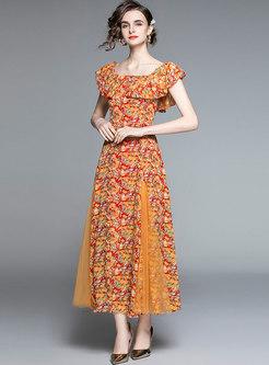 Boho Off-the-shoulder Print Long Beach Dress