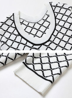 Crew Neck Plaid Pullover Knit Top