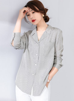 Notched Long Sleeve Plaid Blouse With Pocket