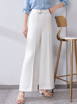 Solid Casual High Waisted Palazzo Pants