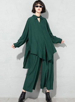 Plus Size Openwork Blouse & High Waisted Palazzo Pants